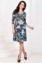 Повседневное платье с расклешённой юбкой синего тона цвета -1020.17|интернет-магазин vvlen.com