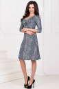 Повседневное платье с расклешённой юбкой зеленого тона цвета -1020.17 No1|интернет-магазин vvlen.com