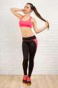 Лосины для фитнеса черного с розовым цвета No3|интернет-магазин vvlen.com