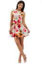 Коктейльное платье с расклешённой юбкой белого с красным цвета 2278.63 No0|интернет-магазин vvlen.com