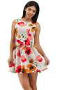 Коктейльное платье с расклешённой юбкой белого с красным цвета 2278.63 No1|интернет-магазин vvlen.com