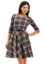 Повседневное платье с расклешённой юбкой синего с красным цвета No0|интернет-магазин vvlen.com