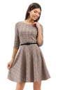 Повседневное платье с расклешённой юбкой бежевого цвета 2281.41 No1|интернет-магазин vvlen.com