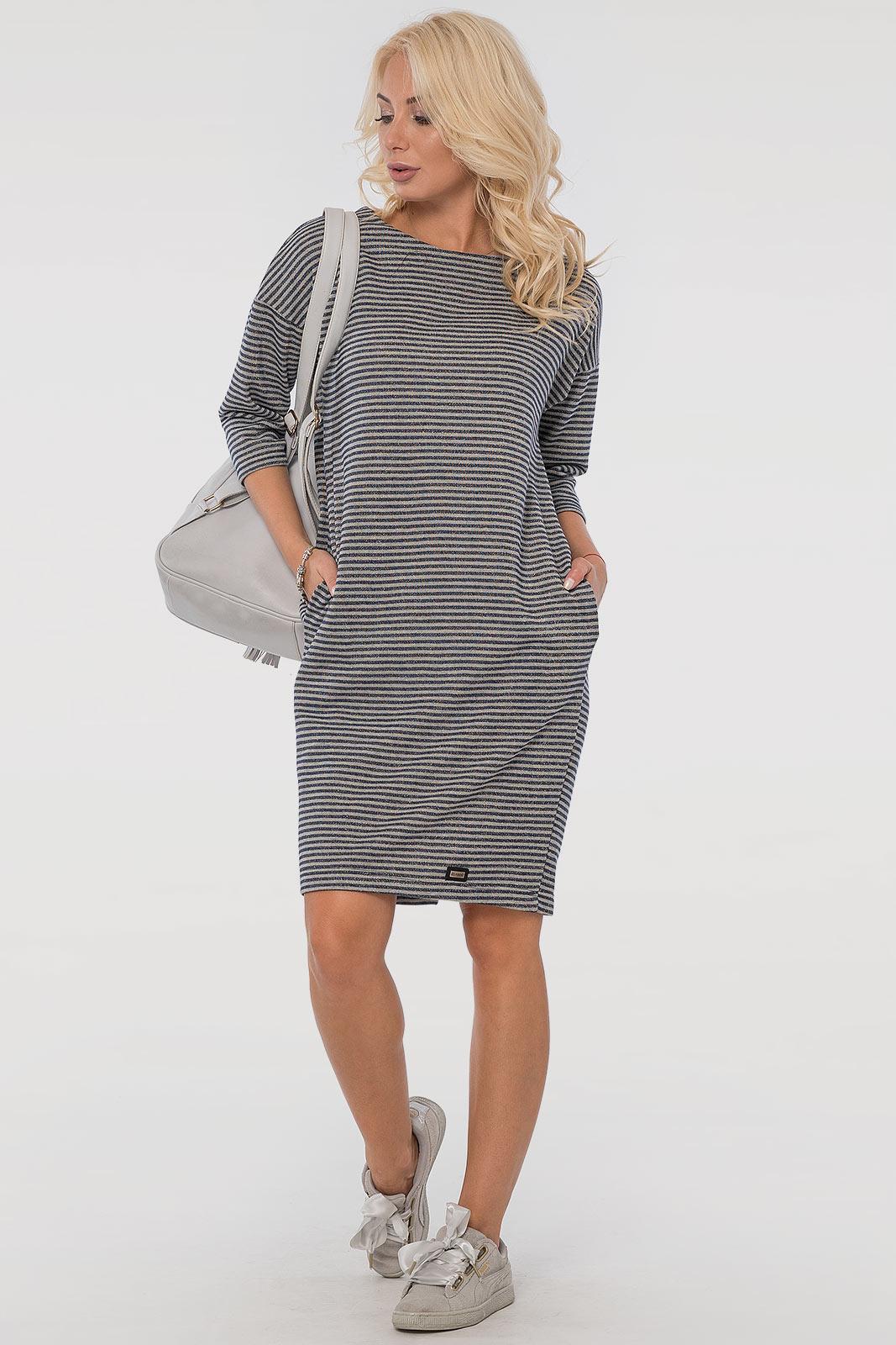 Повседневное платье мешок серого с синим цвета V&V  VVLEN
